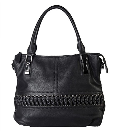 1600 PU Diophy with Purse Leather CZ Removable Black Womens Front Strap Accented Handbag Tote Laced UwqOa4