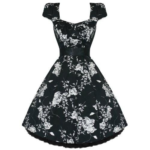 Femmes Femme Neuf Noir Blanc Floral 50s Vtg évasé Rockabilly Robe Soirée avec exclusivité Starlet Sac Fourre-tout - Noir, Femme, EU 40 M
