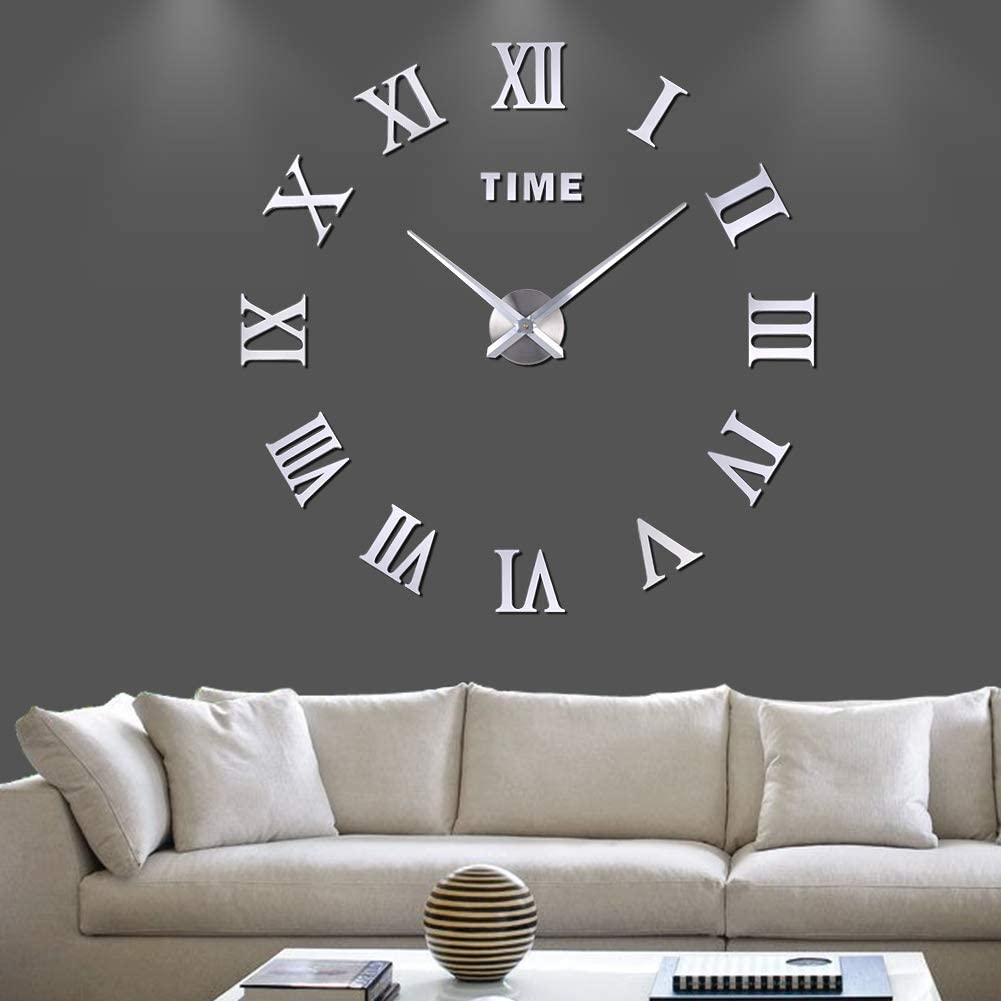VREAONE Large 3D DIY Wall Clock, Giant Roman Numerals Clock Frameless Mirror Big Wall Clock Home Decoration for Living Room Bedroom(Silver-01)