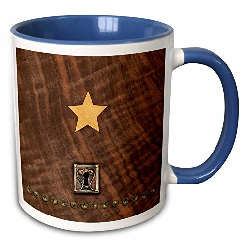 (3dRose Russ Billington Designs - Photo of Wood Veneer Marquetry Heart and Lock - 15oz Two-Tone Blue Mug (mug_219401_11))