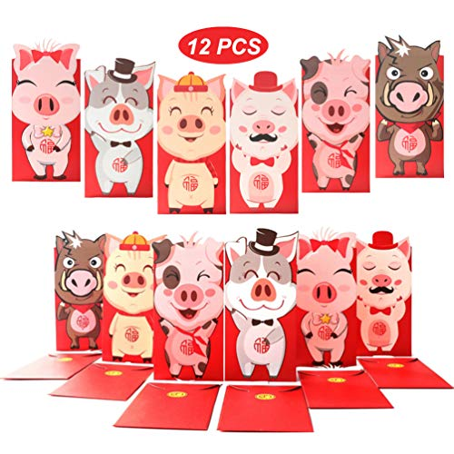 Money Envelopes for Cash, 12pcs Unique Gift Envelopes, Hong Bao, Red Envelopes Packet for Chinese New Year, Spring Festival, Christmas, Birthday, Wedding, Thank You Card (Cartoon Pig 2019) (Chinese Christmas Cards)