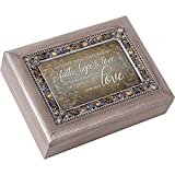 Cottage Garden Faith Hope Greatest Is Love Pewter Jewel Beaded Music Box Plays Friend in Jesus