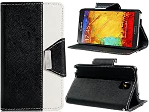 True Faux Leather Dual Color Stand Flip Case with Magnetic Closure for Samsung Galaxy Note 3 N9000 (Black)