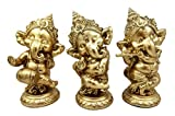 "Atlantic Collectibles Ceremonial Dancing God Ganesha Elephant With Instruments 6""H Decorative Figurine Set of 3"