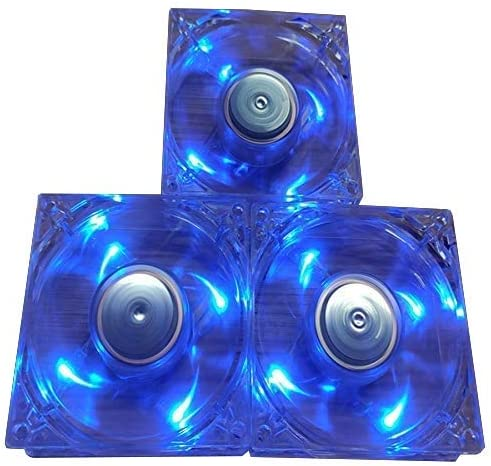 3 Pack, Cooler MASTEB A8025-18CB-5BN-L1, DC 12V 0.21A 3.1in x 1in, Transparent Frame Computer Fan with Blue LED, Silent High air Volume Computer Power Cooling Fan (8025LED-3pack)