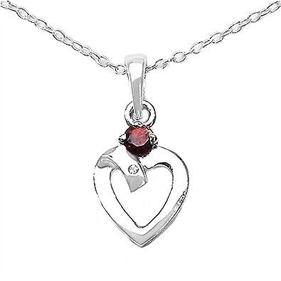 Collier mit Diamant Granat  Herz-Anhänger Rhodiniert  Amazon.de  Schmuck 1472484374