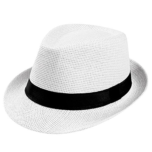 Unisex Trilby Gangster Cap Beach Sun Straw Hat Band Sunhat White]()