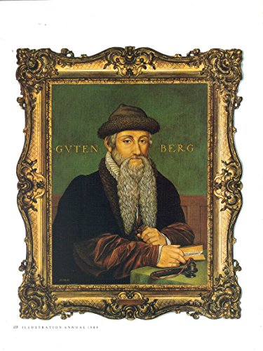 Magazine Print Ad: 1989 Portrait of Johannes Gutenberg by Illustrator Mark Hess, 8 1/2 X 11 inches