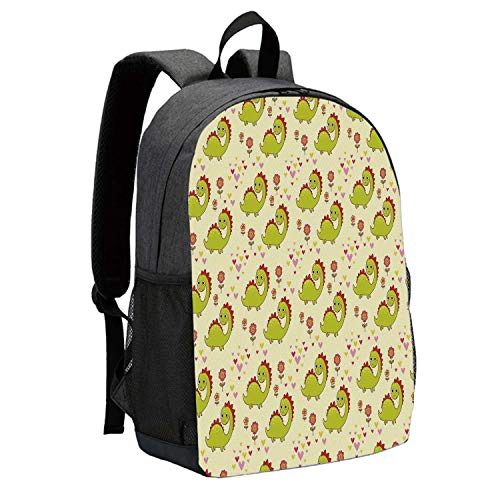 Dinosaur Durable Backpack,Cute Dinosaur Characters with Spring Meadow Flowers Hearts Decorative for School Travel,12