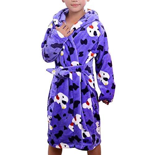 Zhhlinyuan Childrens Kids Boys Girls Franela Dressing Gown Robes Sea Blue