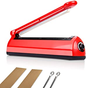 8 inch Impulse Manual Bag Sealer, 5-mm Sealing Width Heat Sealing Machine for Mylar and Cereal Bags Plastics Bags Food Storage with Extra Replacement Kit(Red)
