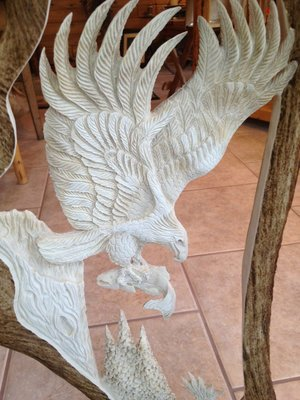Moose Antler Carving, Eagle Last Catch With Eagle Head Carving and Antler Base, 20 - 24