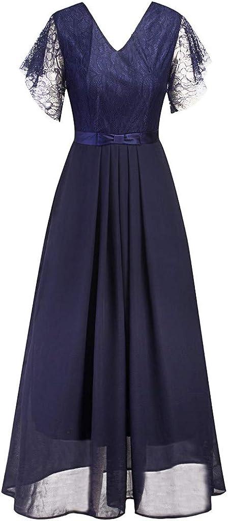 MODOQO Womens Short Sleeve V-Neck Chiffon Dress Formal Ladies Evening Party Long Maxi Dress