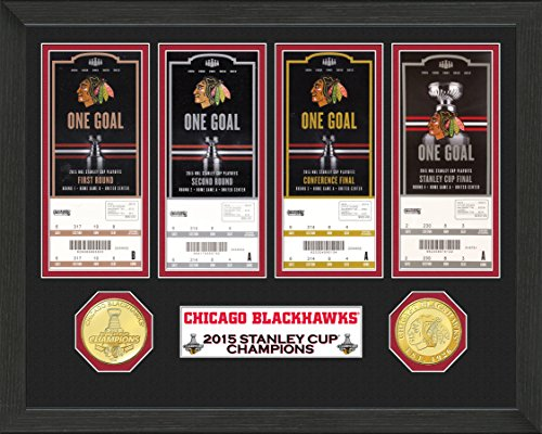 """NHL Chicago Blackhawks 2015 Stanley Cup Champions Ticket Collection, 22"""" x 15"""" x 4"""", Black"""