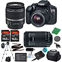 Canon EOS Rebel T6 Camera with 18-55mm IS Lens + 55-250mm STM + 2pcs 16GB Memory Card + Camera Case + Memory Reader + Tripod + 6pc Starter Set - International Version