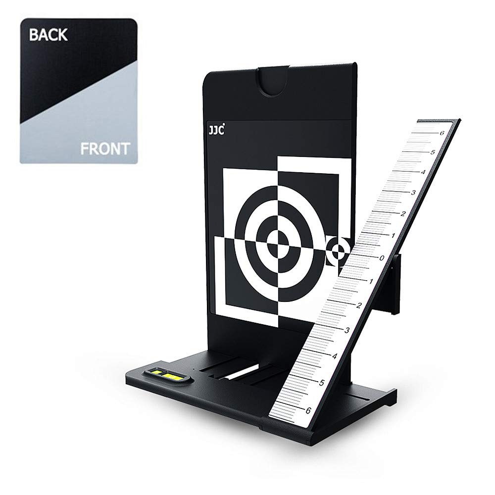 JJC Camera Lens Autofocus Calibration Alignment Test Chart with Color Balance Grey Card/Black Card for Canon Camera with AF Micro Adjustment Function & for Nikon Camera with AF Fine Tune Function by JJC