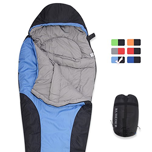 RUBEDER Sleeping Bag – Camping Mummy Lightweight,Waterproof,Comfort With Compression Sack–Tent Sleeping Bags Suitable for Winter, Camping,Hiking,Outdoor Activities (Lake Blue & Black/Left Zip, Mummy)