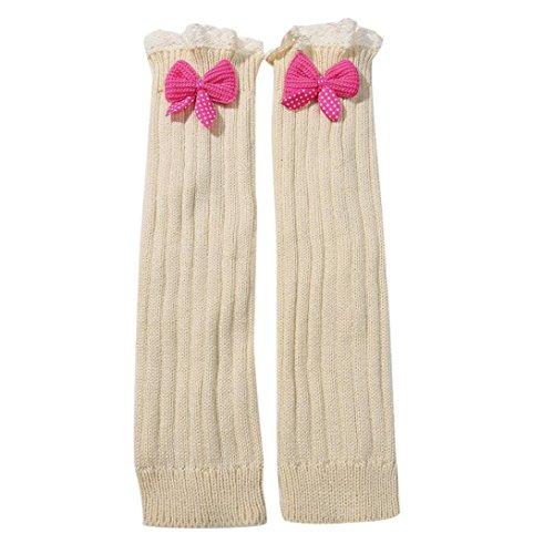 Womens Winter Stockings, Egmy Newest 1 Pair Winter Women Bowknot Knitted Stocking Leg Trim Socks Beige