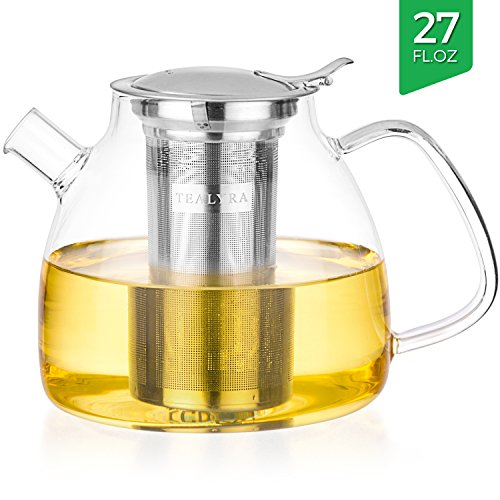 Tealyra - 27-ounce LYRA TEAPOT - Stove-Top Safe - Borosilicate Glass Teapot - Kettle - w/ Removable Stainless-Steel Infuser - Best For Loose Leaf and Blooming Tea - 800ml - Makes 3-4 cups