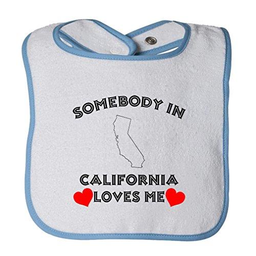 (Cute Rascals Somebody In California Loves Me Tot Contrast Trim Terry Bib White/Blue)
