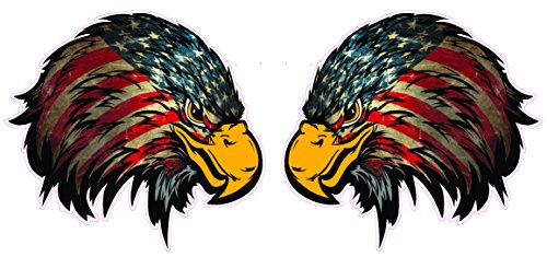 Weathered American Flag Eagle Head Version 2 Decal right and left is 4