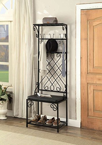 Metal Scroll Hall Tree - Black Metal and Bonded Leather Scroll Design Entryway Shoe Bench with Coat Rack Hall Tree Storage Organizer 12 Hooks