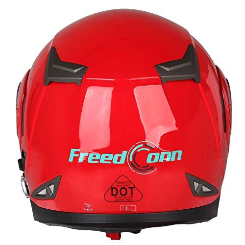 Motorcycle Bluetooth Helmets,FreedConn Flip up Dual Visors Full Face Helmet,Built-in Integrated Intercom Communication System(Range 500M,2-3Riders Pairing,FM radio,Waterproof,L,Red) by FreedConn (Image #9)