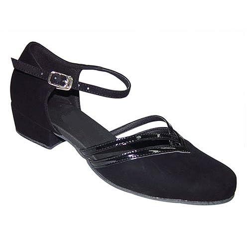 bc3b1775d5b44 Ladies Black Nubuck & Black Patent Closed Toe Dance Shoes for Line ...