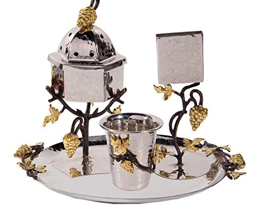 Yair Emanuel Havdallah Set For the End of Sabbath 4 Peices Hammered Metal with Grape Branches