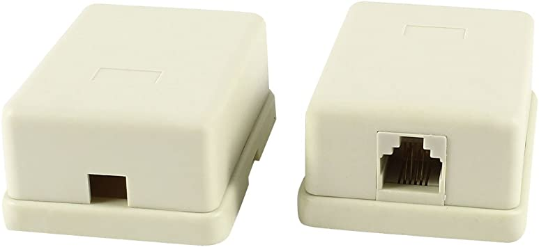 RJ11 6P4C Single Female Socket Plastic US Telephone Cable Connector Box