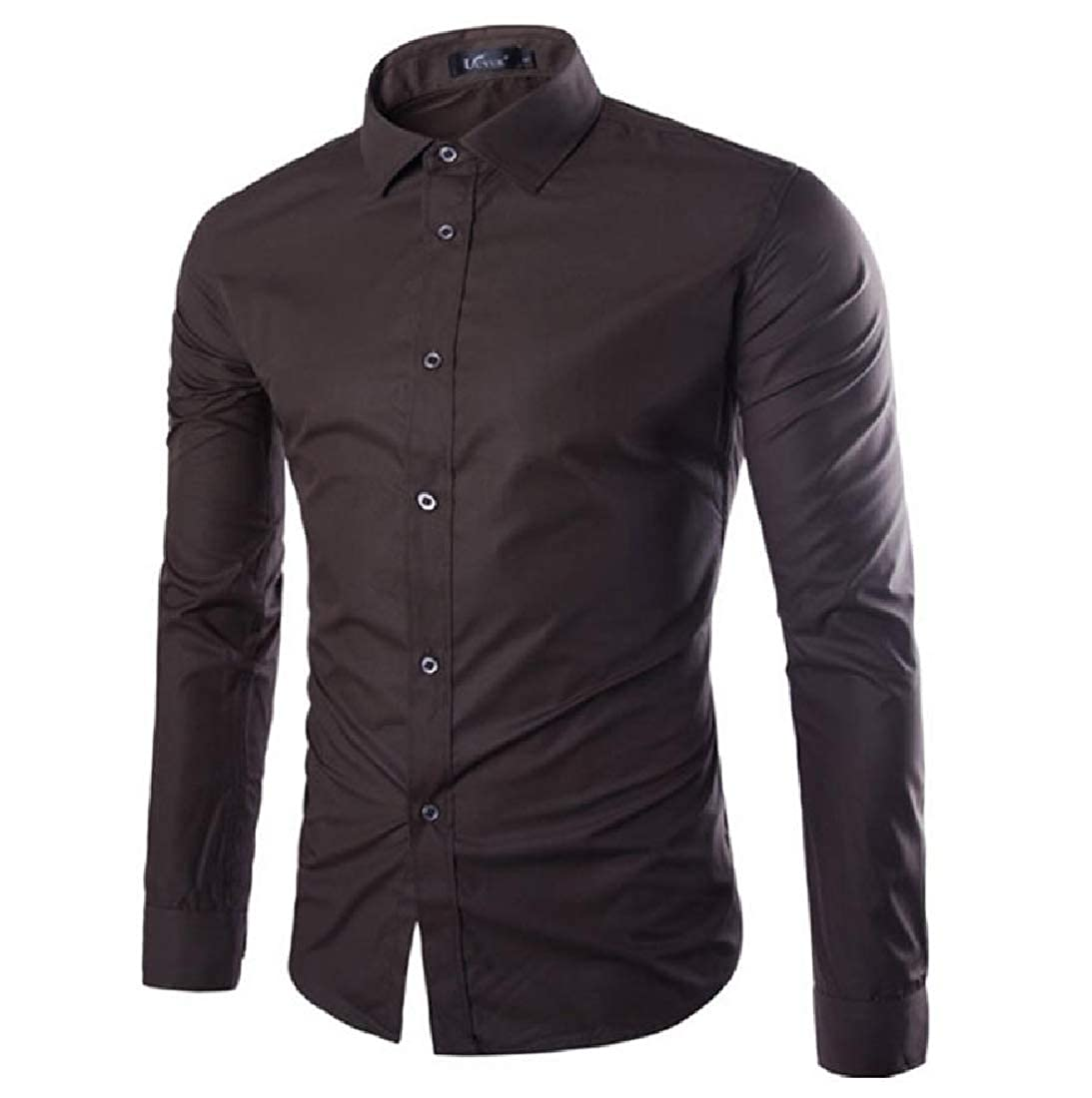 YUNY Men Candy Color T-Shirts Classic-Fit Hipster Relaxed Dress Shirt Coffee XL