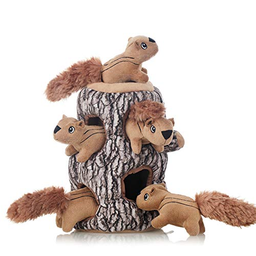 Laifug Squeaky Puzzle Plush Dog Toy,Interactive Squeaky Hide and Seek Plush Dog Toy