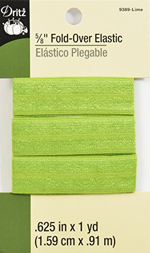 Dritz 9389 Fold-Over Woven Elastic, 5/8-Inch by 1-Yard, Lime