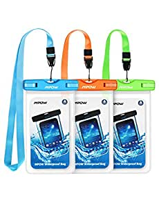 """Mpow Waterproof Case, Universal IPX8 Waterproof Phone Pouch Underwater Protective Dry Bag Compatible iPhone Xs Max/XS/XR/X//8/8P, Galaxy S9/S9P/, Google Pixel/HTC up to 6.0"""" (Blue Orange Green)"""