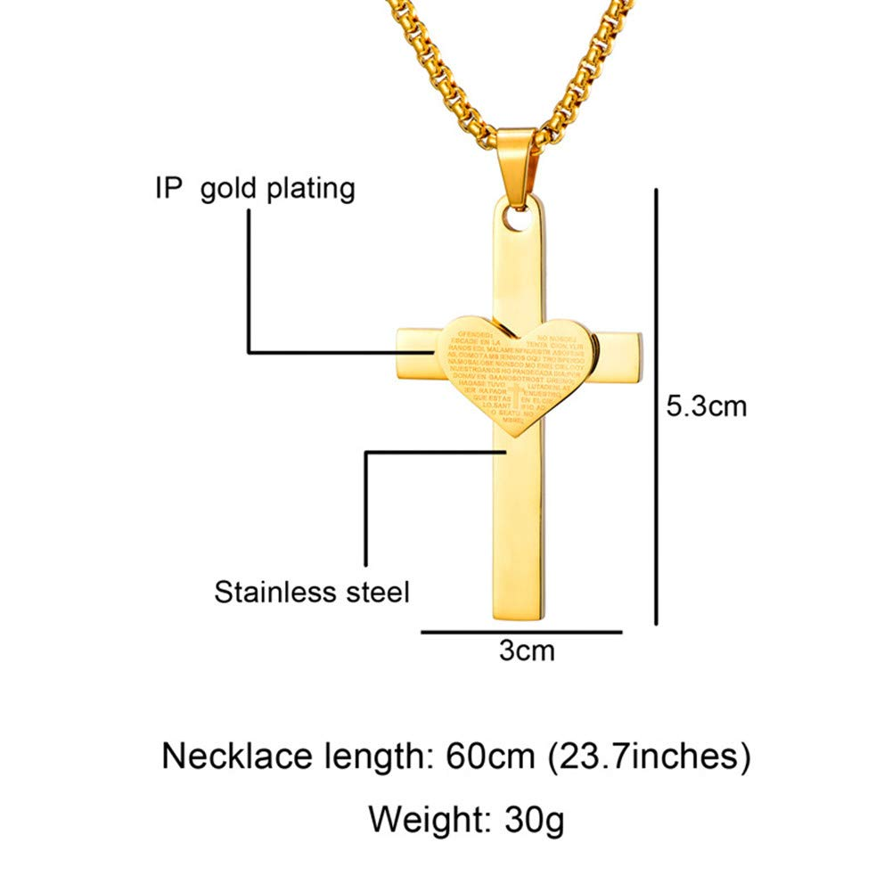 Alicejewelry Religious Jewelry Stainless Steel Faith Hope Love Heart Cross Pendant Necklace Gold