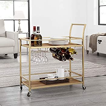 Image of Home and Kitchen FirsTime & Co. Francesca Bar Cart, 32'H x 15'W x 12.25'D, Gold