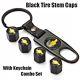 Chevy Black Tire Stem Valve Caps and Black Keychain Combo Set