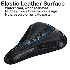 Comfortable Waterproof Bike Seat Cover - DAWAY C8 Soft Memory Foam Padded Leather Exercise Bicycle Saddle Cushion for Men Women, Fits Spin Class, Stationary Bikes, Outdoor Cycling, 1 Year Warranty
