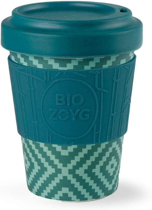 BIOZOYG Termo/Taza To-Go- orgánica de bambú - con Tapa y Agarre de Silicona I Taza Sustentable de bambú para café To Go Rombos Ø 9 cm, Altura 12 cm Termo Taza de café To Go 400 ml