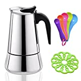 Stovetop Stainless Steel Moka Pot,4 CUPS Espresso Coffee Maker,Come with 4.72 inch Heat Resistant Moka Trivet and 5 Different Color Scoop