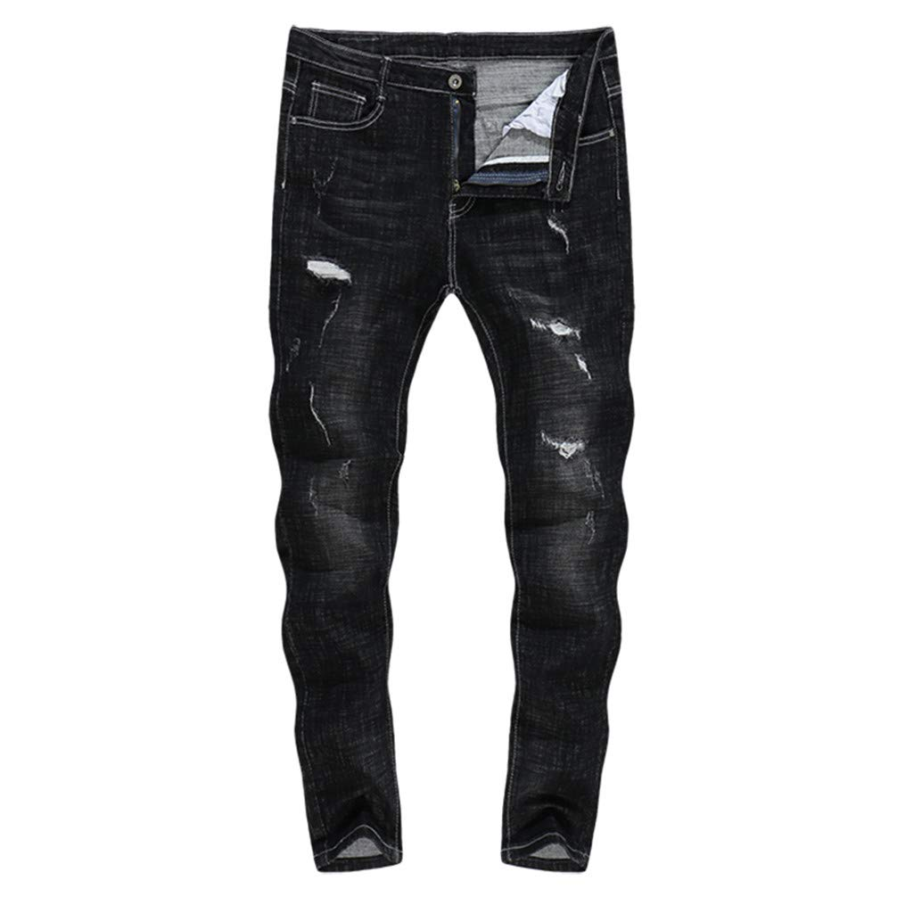 WIDVF Skinny Jeans Men Thick Patch Ripped Stretch Casual Boys Long Trousers Hip Hop 36