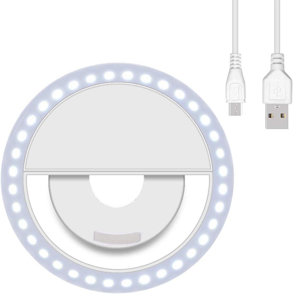 aovowog Selfie Luz del Anillo Recargables con 36 LED Selfie Light Ring Clip 3 Niveles de Brillo para iPhone,Samsung,Huawei,Xiaomi - Blanco