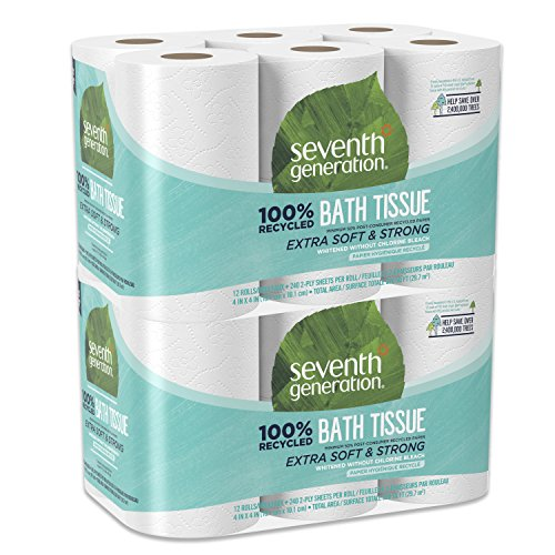 (Seventh Generation Toilet Paper, Bath Tissue, 100% Recycled Paper, 24 Rolls (Packaging May Vary))