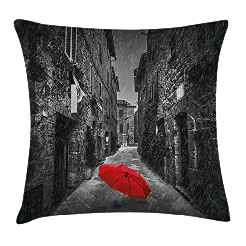 Black and White Throw Pillow Cushion Cover by Ambesonne, Red Umbrella on a Dark Narrow Street in Tuscany Italy Rainy Winter, Decorative Square Accent Pillow Case, 18 X 18 Inches, Grey Vermilion (Black Pillows And White Red)