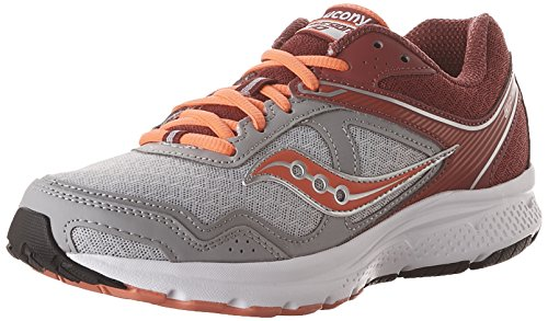 Saucony Women's Cohesion 10 Running Shoe, Grey/Pink, 8 M US