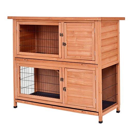 Tangkula Chicken Coop 48'' Rabbit Hutch Wooden Garden Backyard Bunny Hen House Pet Supplies with Ladder by Tangkula