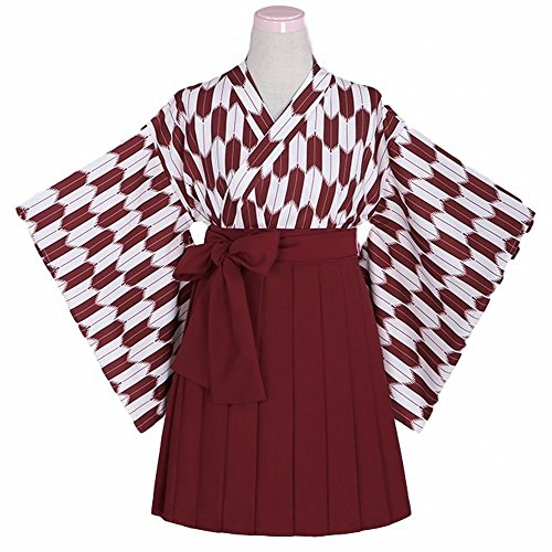 [POJ Kimono Japanese Anime Costume [ L Size Red / Black For Women with Skirt ] Cosplay (L, Red)] (Buzzfeed Easy Costumes)