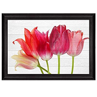 Pink and Coral Flowers Over White Wooden Panels Nature Framed Art, Made to Last, Incredible Handicraft