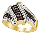 10k Yellow Gold Brandy Diamond Chocolate Brown Wave Design Fine Ring 1/2 Ctw.