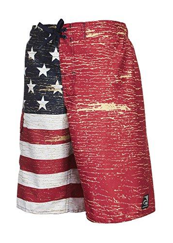 Laguna Boy's American Flag USA Board Short Swimwear Trunks Red-18/20 by Laguna (Image #2)